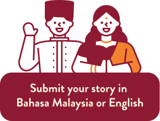 A pair of Malaysians with the caption: Submit your story in Bahasa Malaysia or English