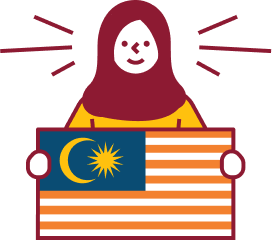 Woman holding the Malaysian flag